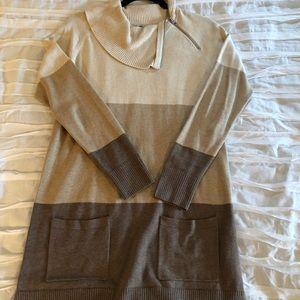 Long, warm toned, cowl zip neck sweater